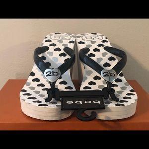 BEBE white wedge sandals (7 1/2- 8)